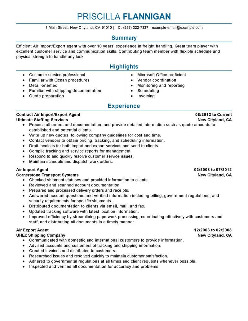 best air import export agent resume example livecareer example of export and import document