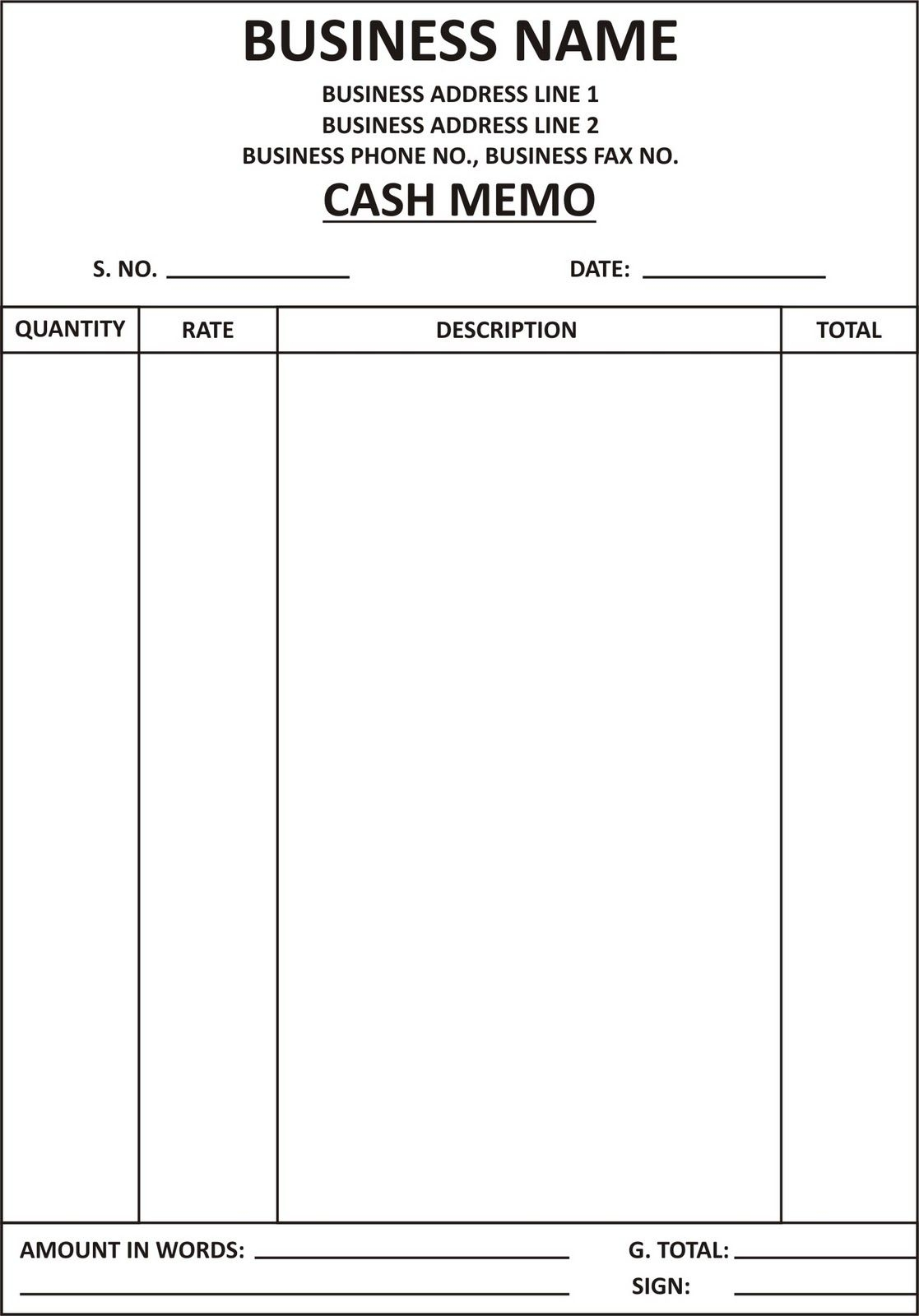 cash bill format submited images pic 2 fly invoice format cash memo format in word