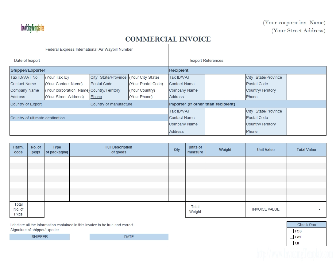 commercial invoice fedex style landscape fedex proforma invoice template