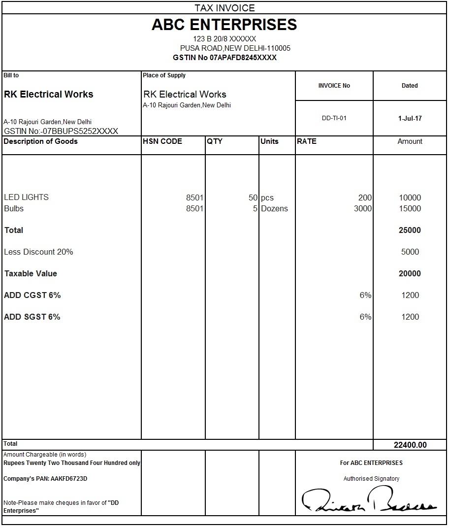 download excel format of tax invoice in gst gst invoice format sales invoice form under gst