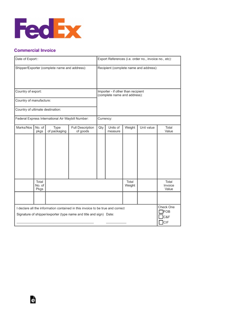 free fedex commercial invoice template pdf eforms free fedex proforma invoice template