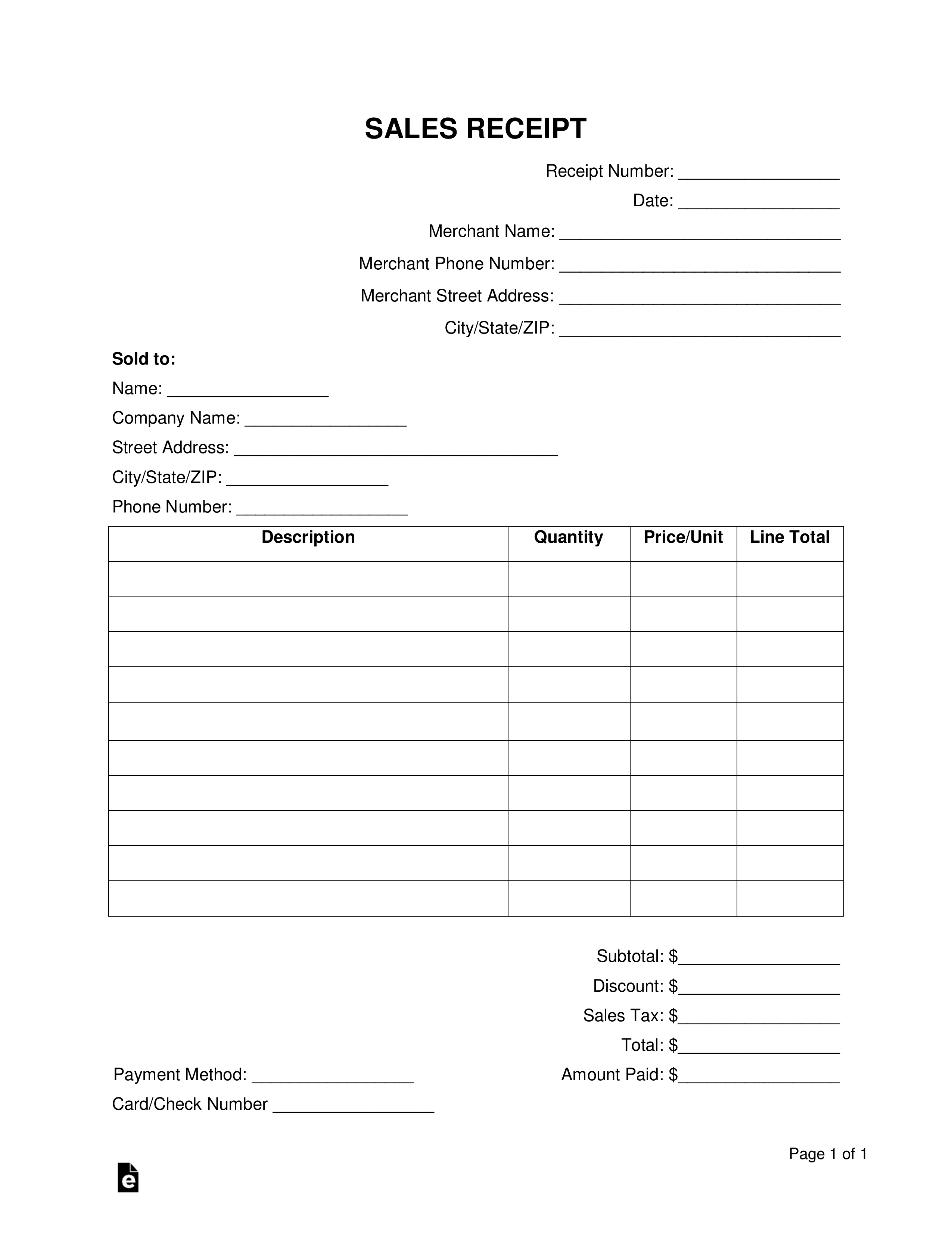 free sales receipt template word pdf eforms free sales receipt template microsoft word