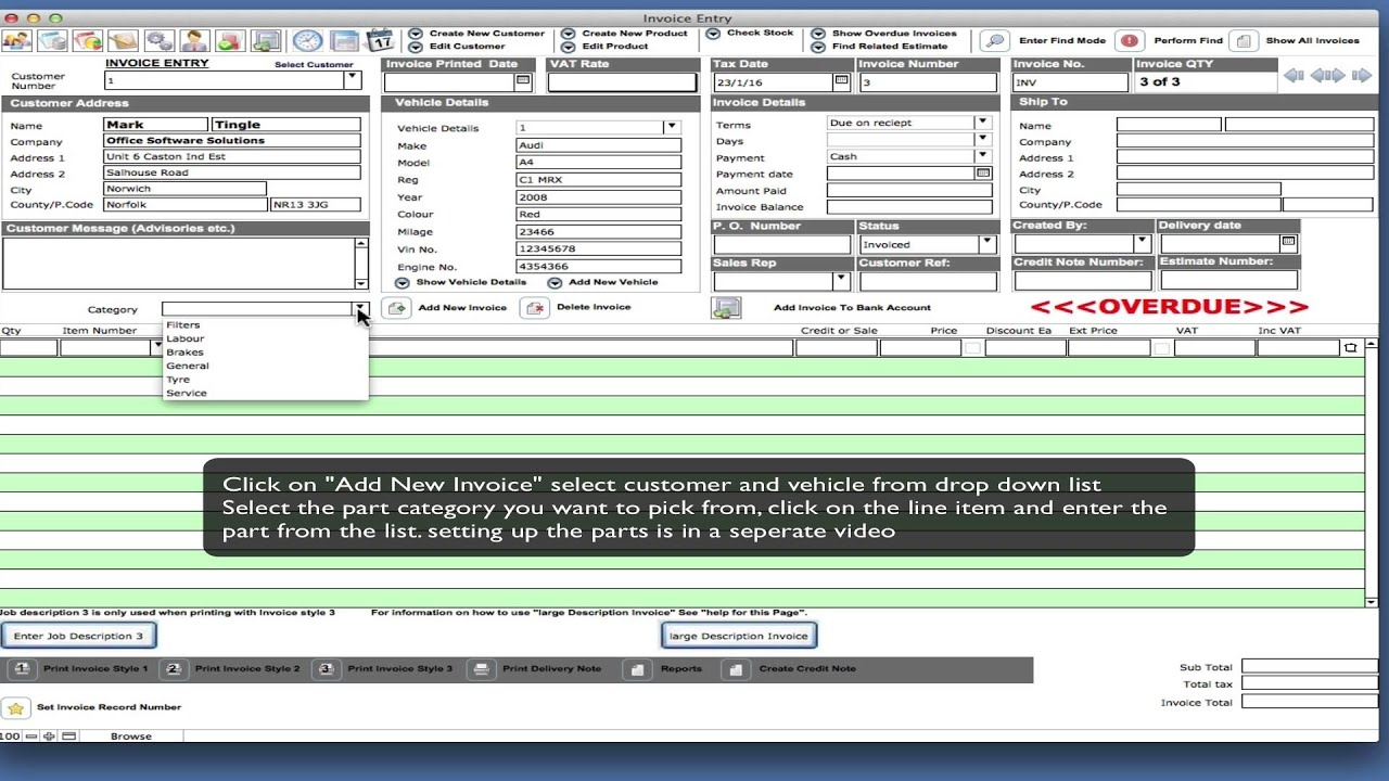 garage manager quick invoice and invoicing software demo garage invoice managment software