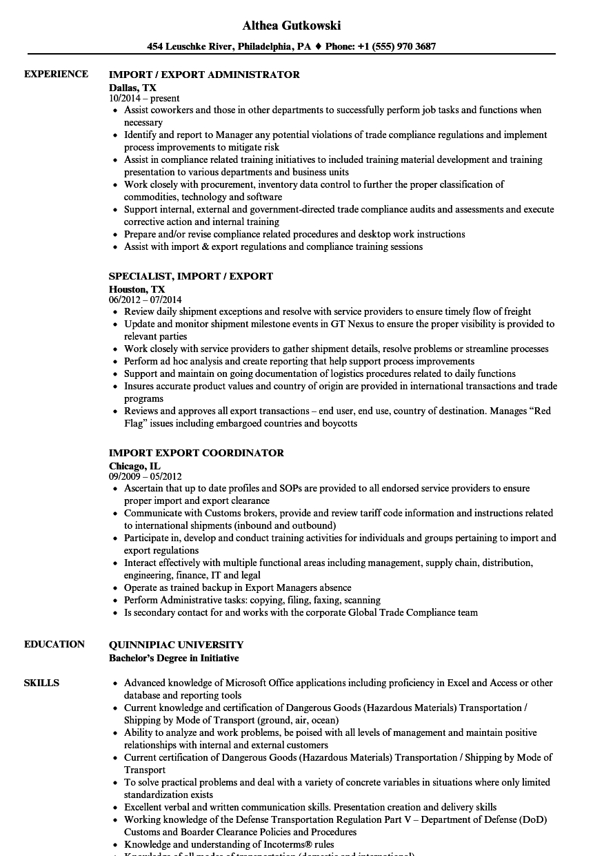 import export resume samples velvet jobs example of export and import document