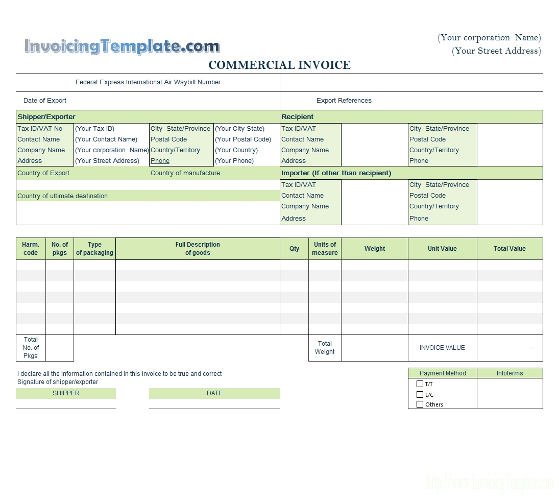 invoice template for word courier bill format in word