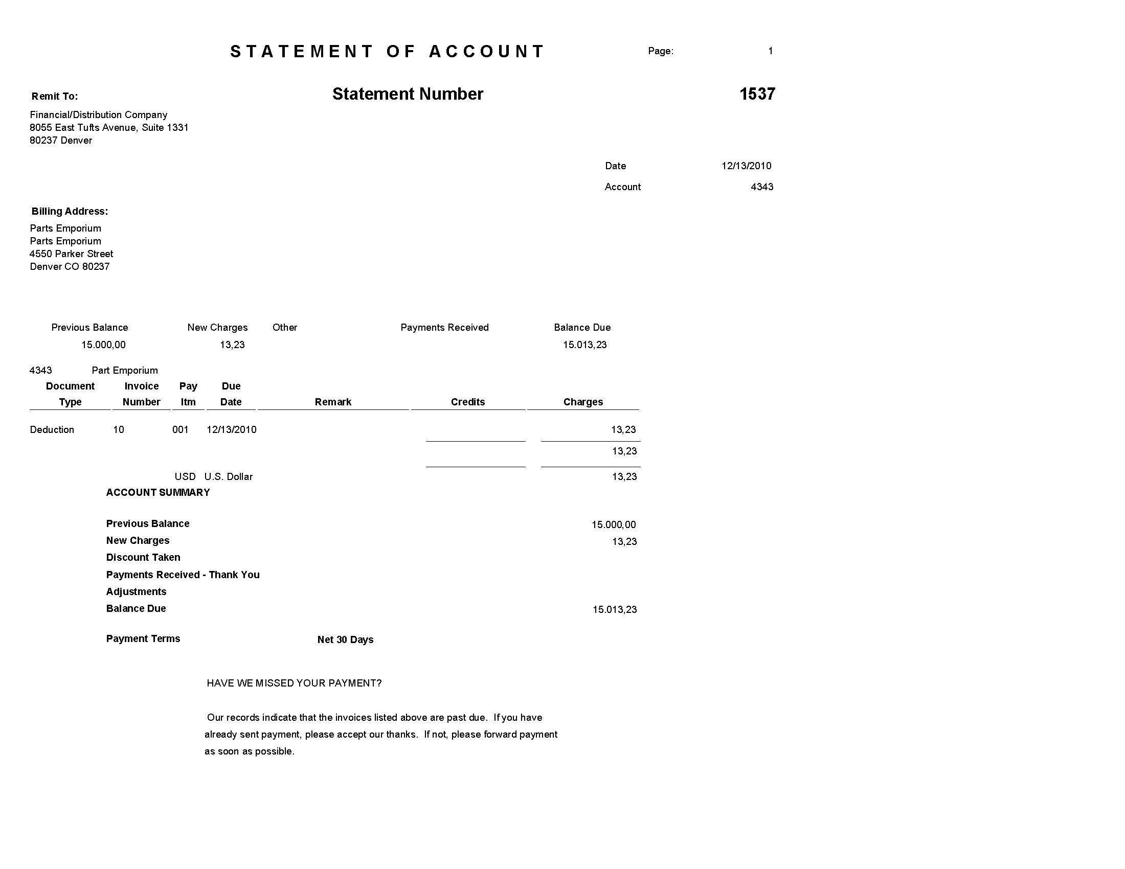jd edwards enterpriseone accounts receivable reports credit note statement form