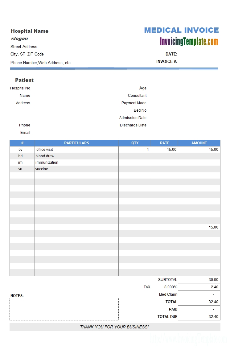 medical billing format samples of invoice and receipt