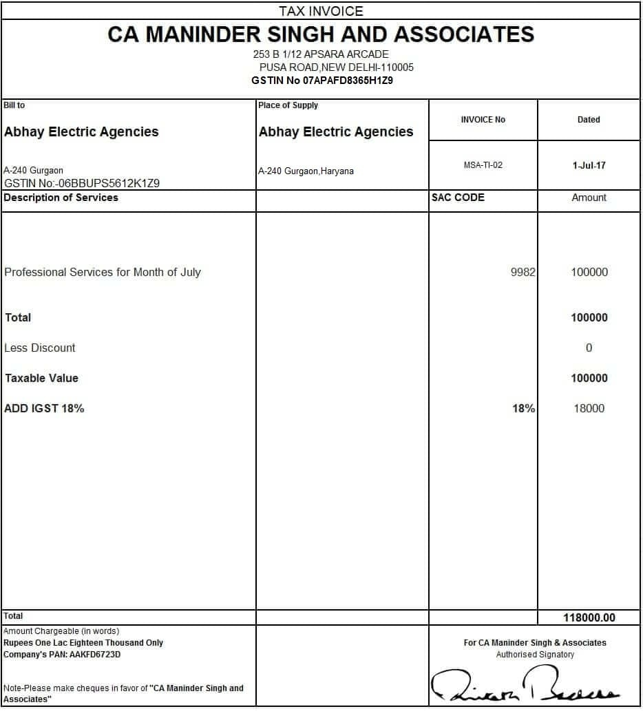 tax invoice format missersd7 tax invoice in gst