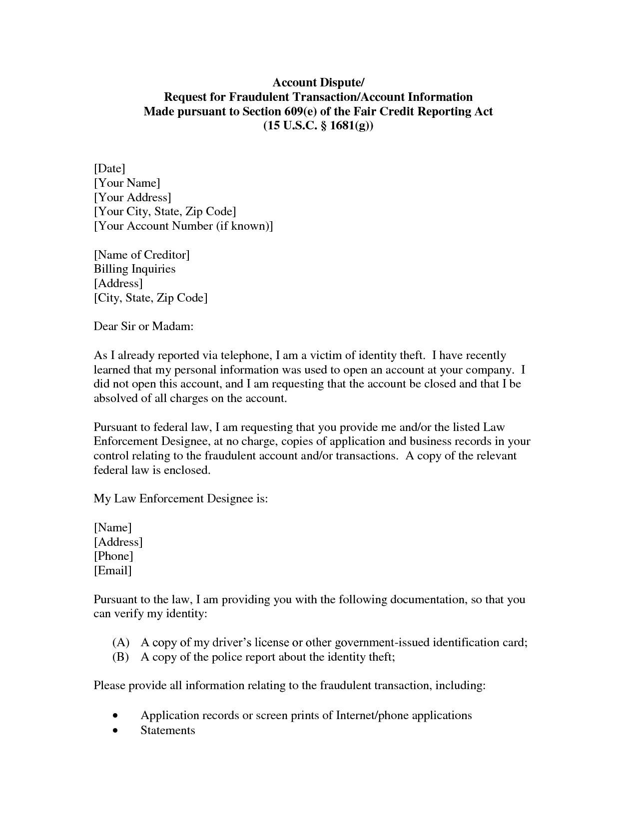 template for dispute letter firusersd7 sample 609 dispute letter