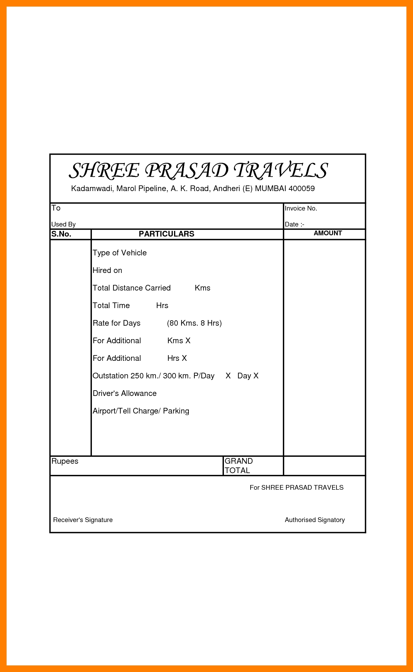 tour travels bill format keenrsd7 tours abd travels bill format