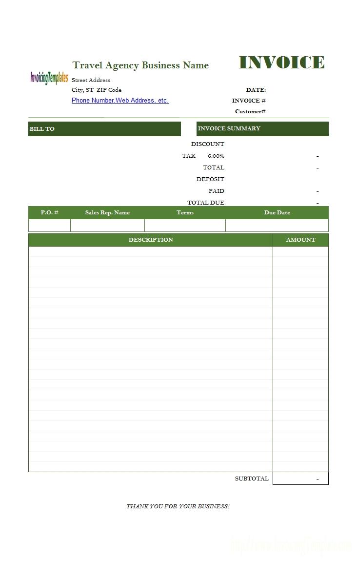 travel service bill format travel company invoice format