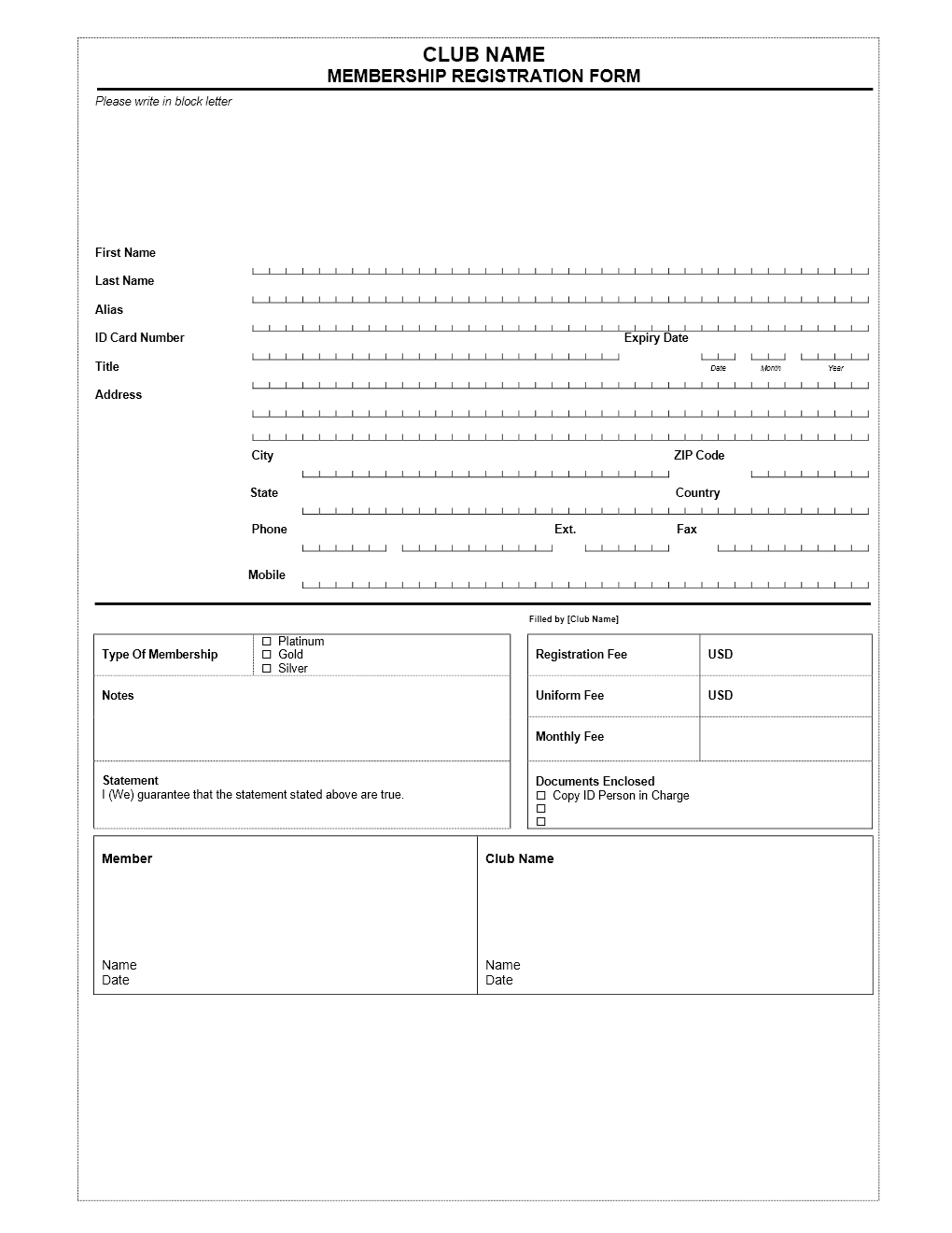11 images of membership form template free migapps membership application form template free