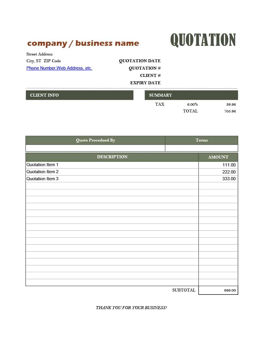 47 professional quote templates 100 free download quotation format in excel download