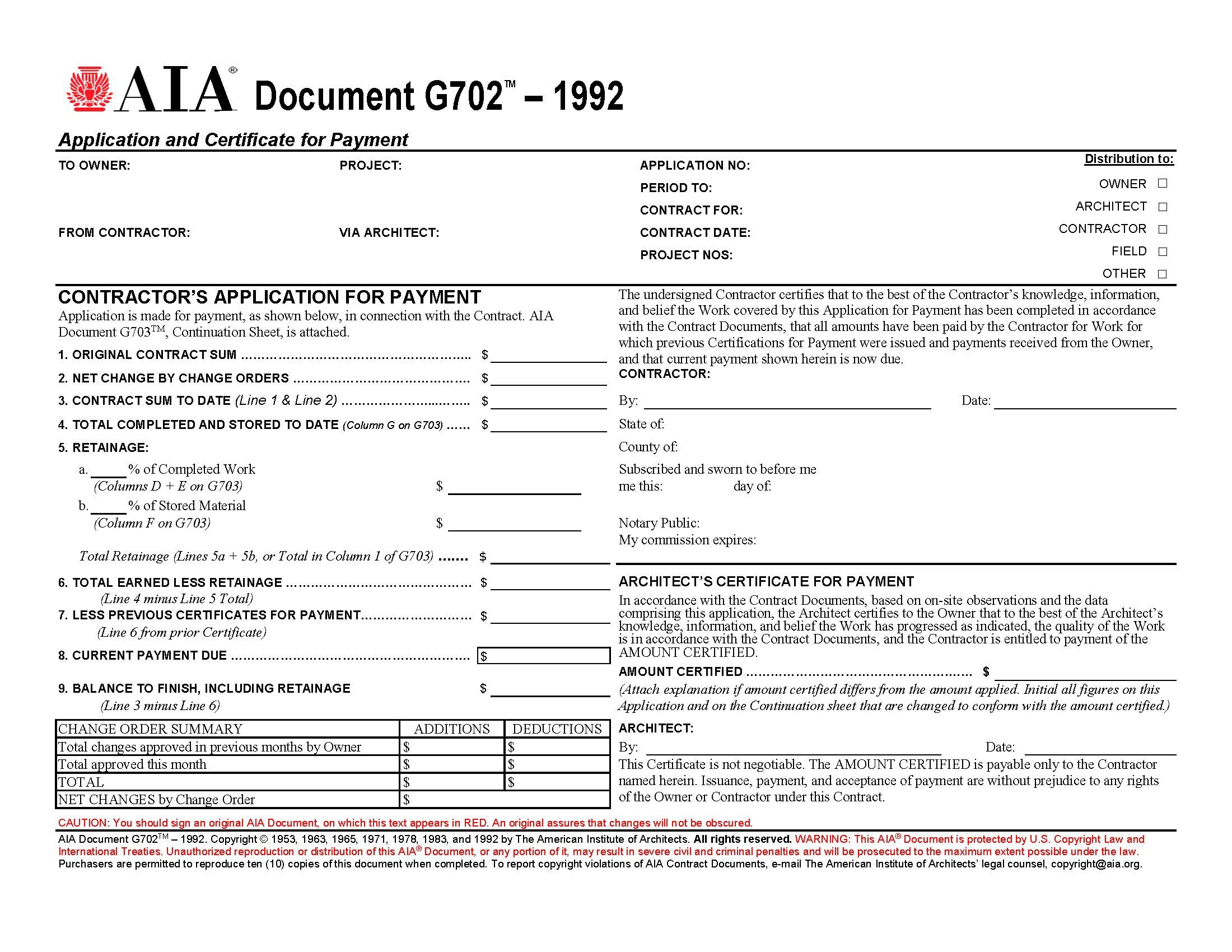 aia forms g702 g703 application certificate and continuation aia invoice format template