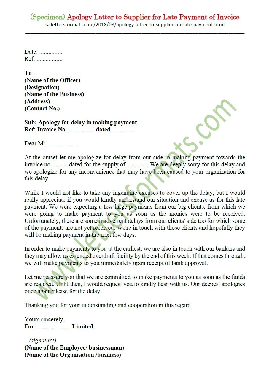 apology letter to supplier for late payment of invoice sample apology letter for late payment of invoice