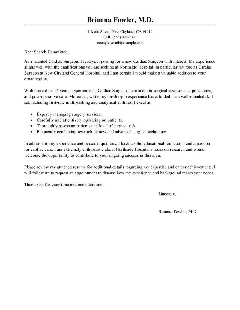 best surgeon cover letter examples livecareer letter asking for a tool from the department