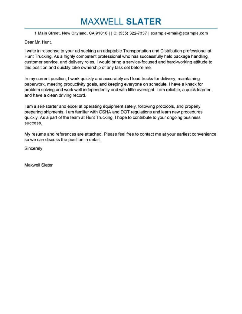 best transportation cover letter examples livecareer letter asking for a tool from the department