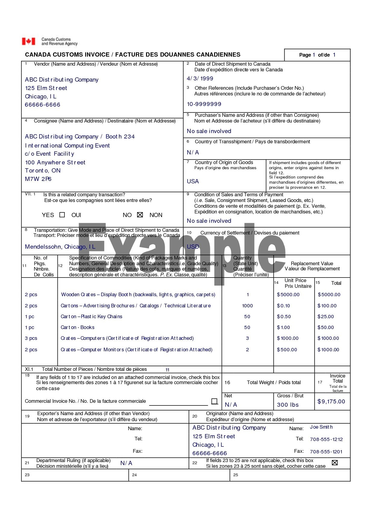 canada customs invoice canada customs invoice template canada customs invoice excel