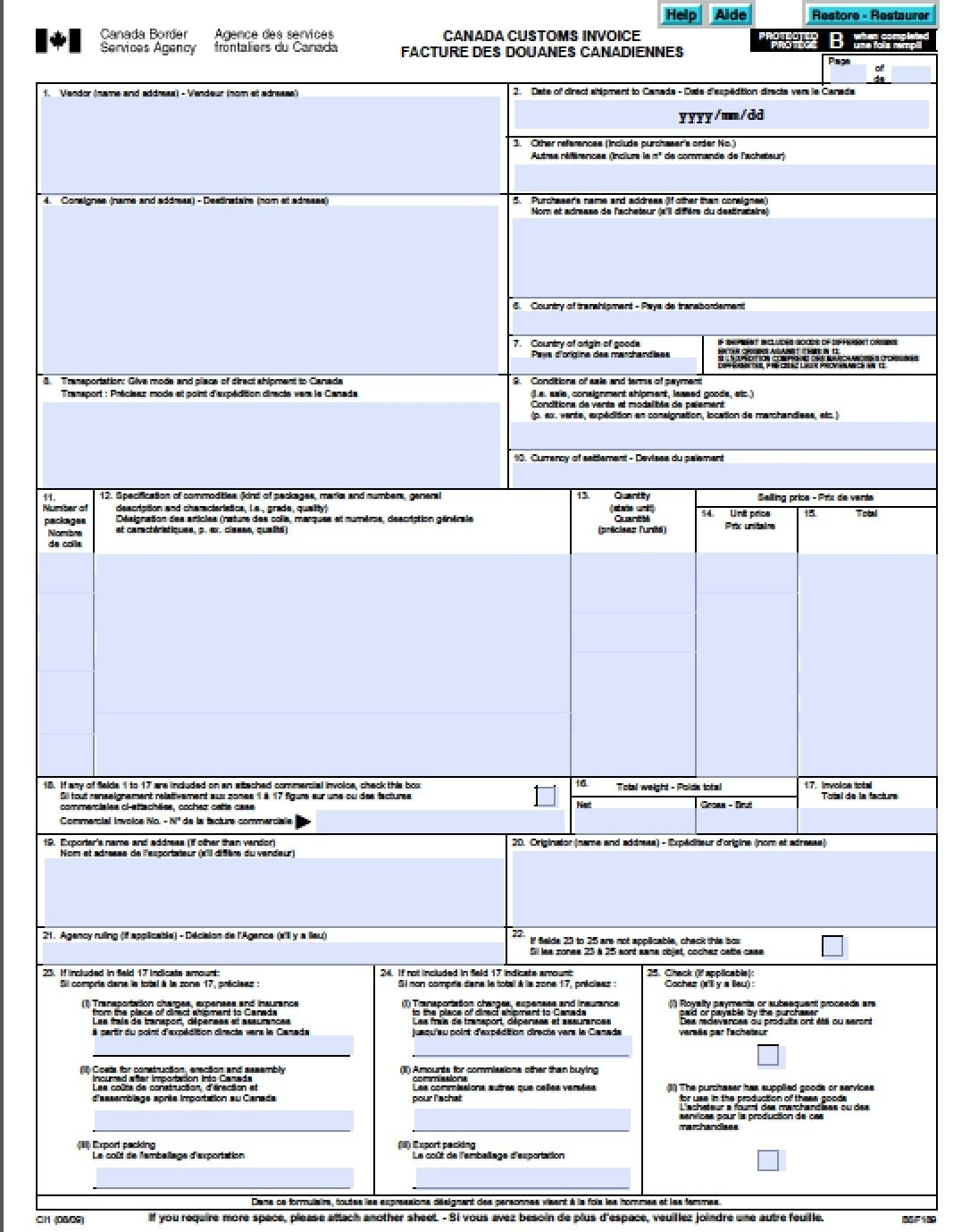 canada customs invoice free canada customs commercial canada customs invoice excel