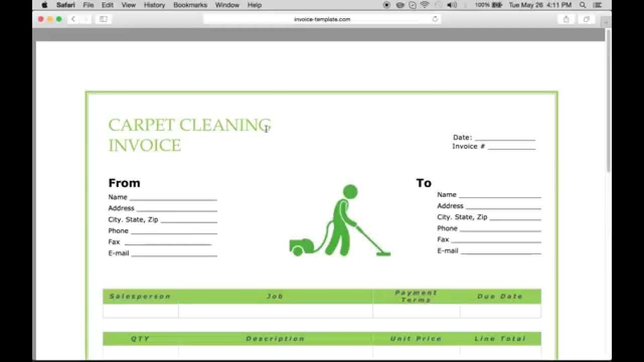 make a carpet service cleaning invoice pdf excel word carpet cleaning invoice sample