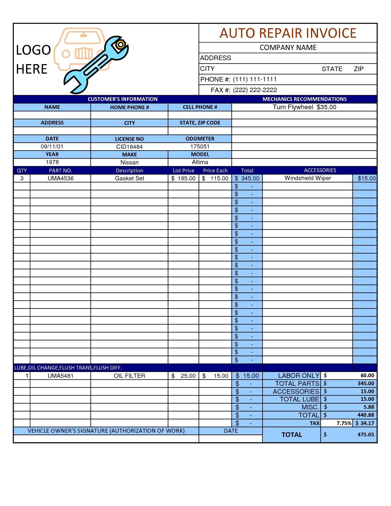 mechanic shop invoice scope of work template auto repair auto repair shop invoice template