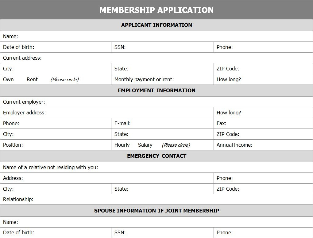 membership application form application for membership form membership application form template free