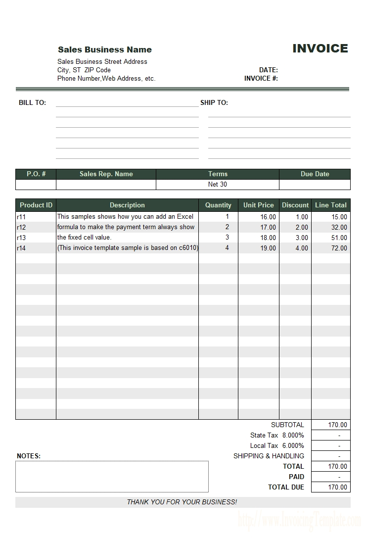 net 30 invoice sample proforma invoice for advance payment sample