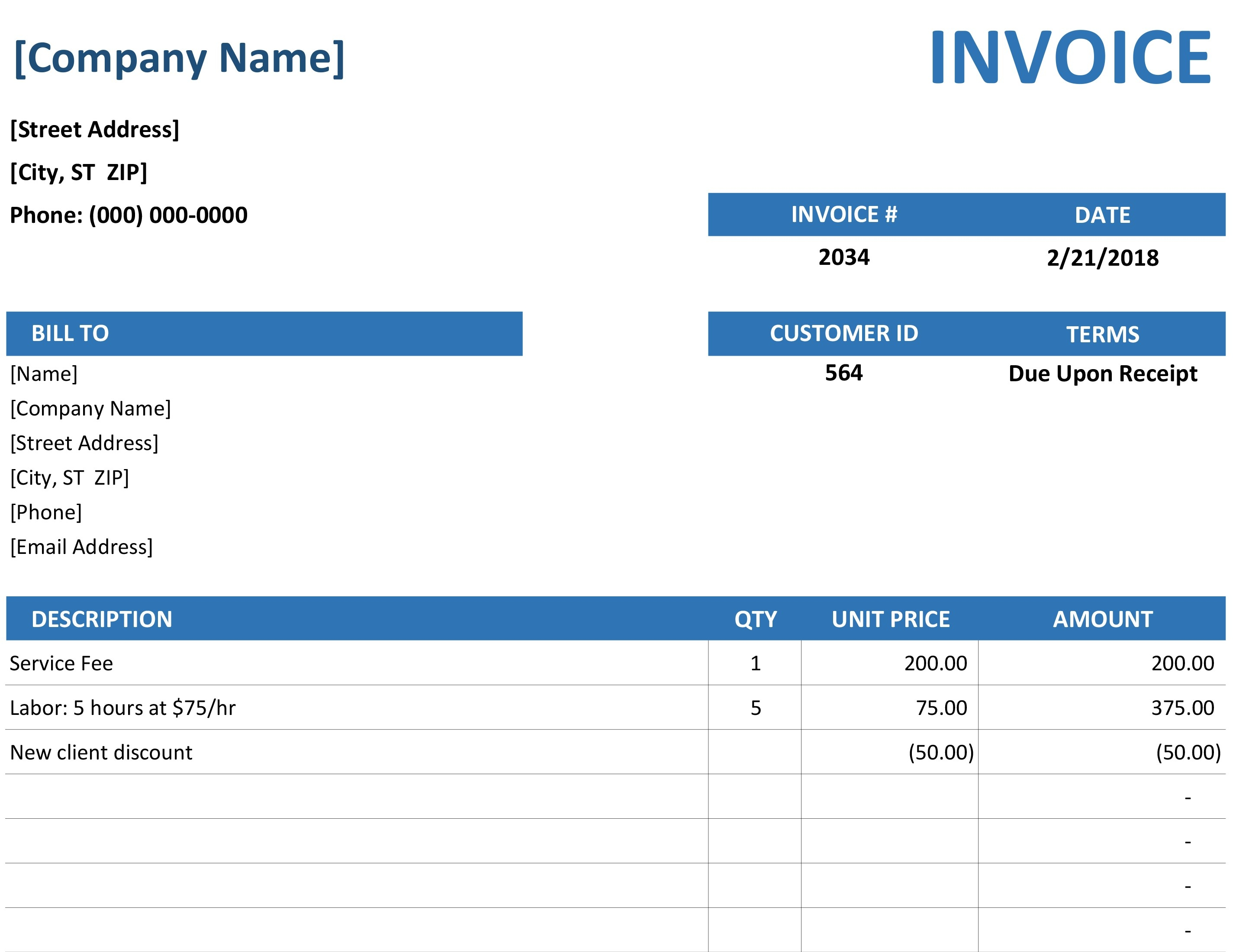 simple service invoice service invoices templates free