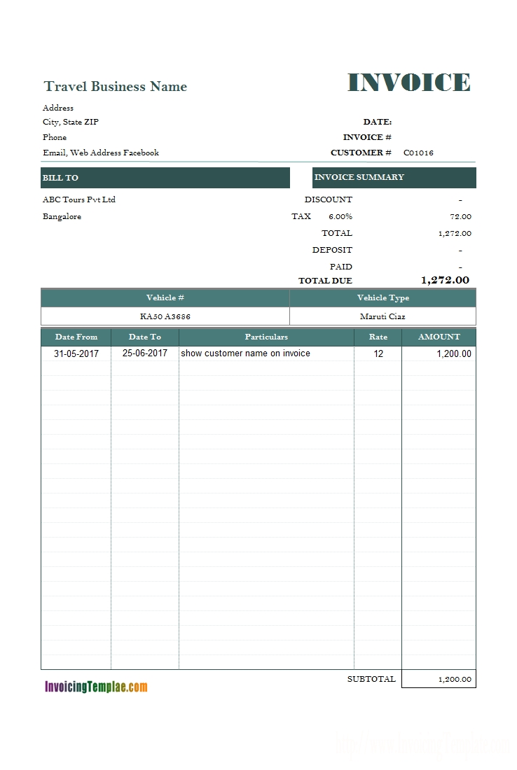 vehicle rental and travel invoice template receipt car travels bill format